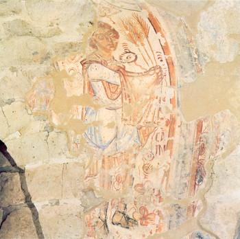 Káint ábrázoló bizánci jellegű XII . századi freskótöredék a feldebrői altemplom dongaboltozatán