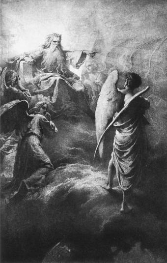Illusztrációk Madács Az ember tragédiájához I., Lucifer az Úr előtt