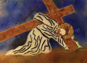 Jézus elesik a kereszttel