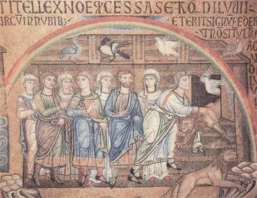 Noé családjával a bárka előtt