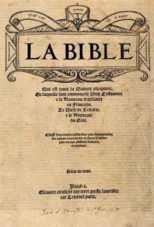 Olivétan francia fordításának első oldala